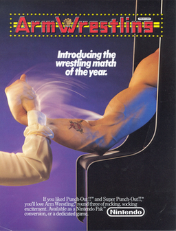 Arcade flyer of Nintendo's Arm Wrestling arcade.