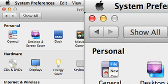 Resolution independence - The MacOS 10.8.5 System Preferences dialog, non-scaled UI (left) and scaled HighDPI UI (right)