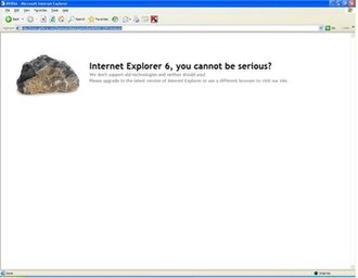 Internet Explorer 6 - Nvidia's website does not support Internet Explorer 6