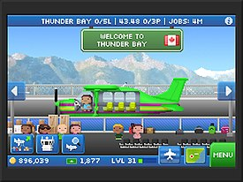 A screenshot depicting a plane that has landed at an airport.