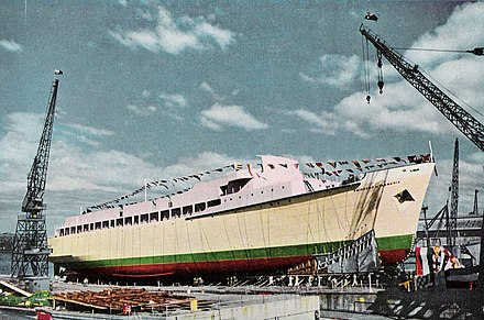The MS Princess of Tasmania prior to being launched at the State Dockyard in November 1958 Princess of Tasmania.jpg