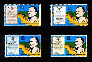 Independent State of Rainbow Creek - A set of 1979 Rainbow Creek stamps showing Governor Barnes, his secession document, and the creek at the centre of his troubles.