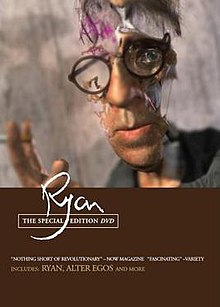 The image depicts the cover of the DVD release of the film. The bottom has a solid brown background with the stylized text 'Ryan' printed above some credits. The top is a still image from the film with a blurred grey background and a portrait of Ryan Larkin, wearing his circular-frame glasses, in the distorted and disembodied style of the film, in which his left cheek, right eye, and most of the right side of his face are missing, enabling the viewer to see the background.