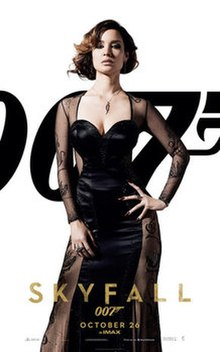 A woman wearing a long black evening gown that features several transparent panels with tattoo designs. The text features the title of the film and the release date.