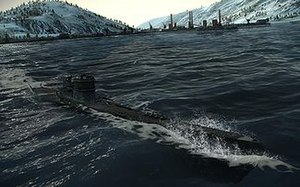 Silent Hunter 5: Battle of the Atlantic - Screenshot of a U-boat in Silent Hunter 5.