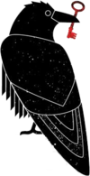 Official logo of Sci-Hub depicting black raven drawing with reddish key in mouth