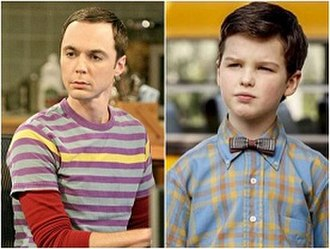 Sheldon Cooper - Jim Parsons as adult Sheldon Cooper (left) and Iain Armitage as young Sheldon Cooper (right)
