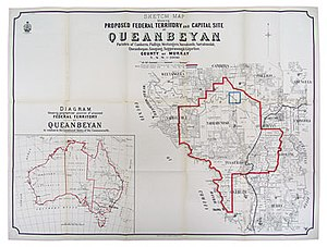 ACT Heritage Library - Sketch map showing proposed federal territory, and capital site at Queanbeyan in Royal Commission on Sites for the Seat of Government of the Commonwealth (Sydney: Government Printer, 1903), ACT Heritage Library
