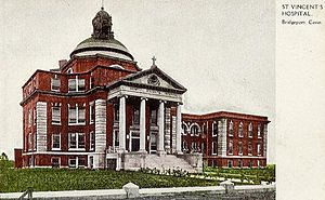 St. Vincent's Medical Center (Bridgeport) - Early postcard picture of the hospital