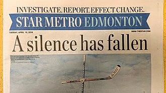 StarMetro (newspaper) - Image: Star Metro Edmonton Cover on April 10 2018