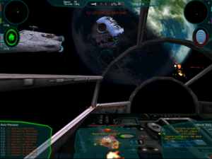 Star Wars: X-Wing Alliance - Screenshot featuring the second Death Star, the cockpit of the Millennium Falcon, and a few starships and starfighters.