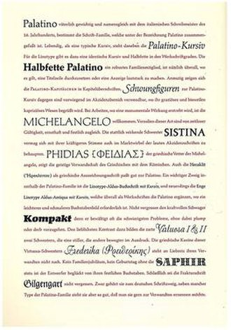 "Palatino - A 1953 specimen of Palatino's ""extended family"", showing the range of fonts Stempel considered complementary to it. Many have little to do with Palatino itself."