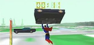 Superman (1999 video game) - Superman carrying a police car in the first level