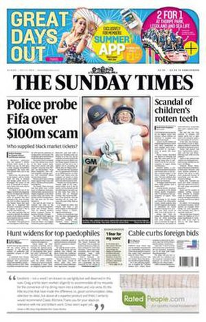 The Sunday Times - The Sunday Times cover (13 July 2014)