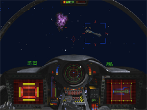 Wing Commander III: Heart of the Tiger - Screenshot of typical first person gameplay while piloting a ship.