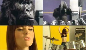 Gorilla (advertisement) - A comparison of two frames from Gorilla with their respective versions in the untitled Wonderbra parody