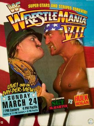 WrestleMania VII - Promotional poster featuring Sgt. Slaughter and Hulk Hogan
