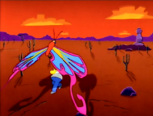 El Viaje Misterioso de Nuestro Jomer (The Mysterious Voyage of Homer) - The butterfly in Homer's hallucination was created using 3D computer animation.