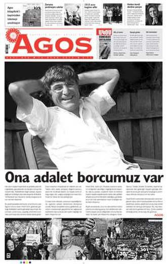 Agos - Cover of Agos on 18 January 2013 carrying the photo of its assassinated editor in chief Hrant Dink