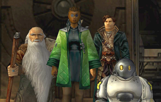 Anachronox - From left to right, Grumpos, Rho, Boots, and PAL-18 approach the camera