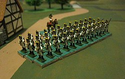 Austrian line infantry platoon in 1809 uniforms including crested helmets