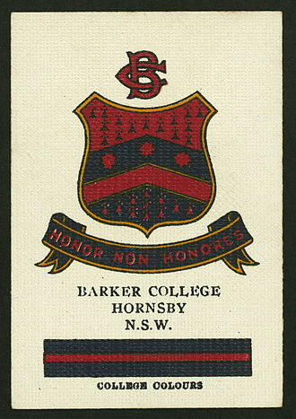 Barker College - Cigarette card featuring the Barker colours and crest, circa 1910s