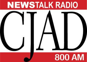 CJAD - The previous logo of CJAD from 2007-2011 used until Aaron Rand returned to the station.  During the Standard Radio era from 2002-2007, the words inside the red rectangles were in black.