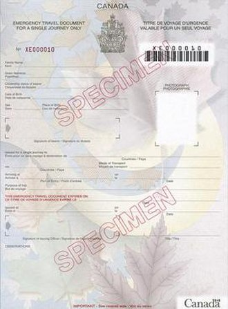 Canadian passport - Image: Can Emerg Travel Doc
