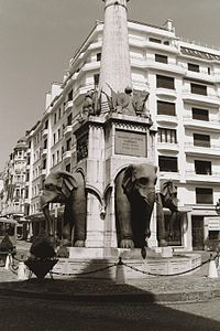 The most famous landmark in Chambéry: the Elephants fountain. Black and white photograph of the elephants.