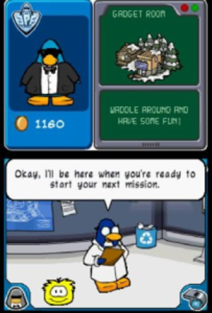 Club Penguin: Elite Penguin Force - Gary the Gadget Guy, talking to the player