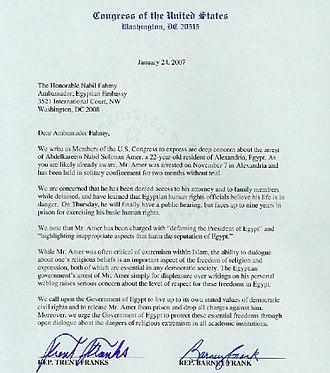 Kareem Amer - Two congressmen's co-signed letter to Egypt's Ambassador to the US.