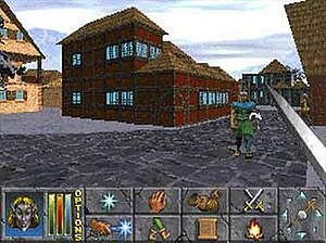The Elder Scrolls II: Daggerfall - A first-person screenshot from Daggerfall, demonstrating the user interface and graphical capabilities of the game.