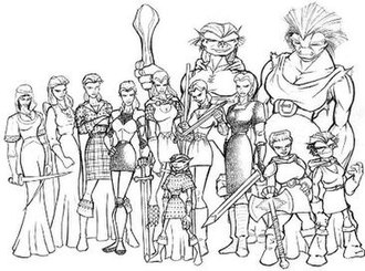 Dark Age of Camelot - Early developmental concept art for the original playable races in the game. From left to right: Saracen, Avalonian, Highlander, Briton, Elf, Lurikeen, Celtic Human, Firbolg, Norseman, Dwarf, Troll, Kobold.