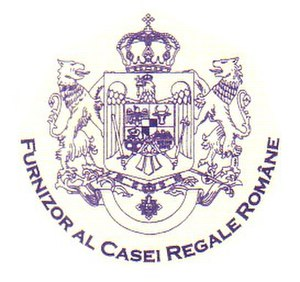Royal warrant of appointment - The wording reads: Purveyor to the Romanian Royal House, used since 2003 (and probably between 1923–1947)
