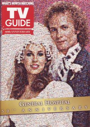 General Hospital's 50th anniversary - TV Guide featured an advertisement for the anniversary on the back cover of its 60th anniversary issue consisting of an image collage depicting Luke and Laura from their 1981 wedding.