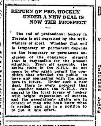 1916–17 NHA season - The Globe was not against the removal of Livingstone, in this editorial of February 13, 1917.