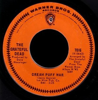 "Warner Bros. Records - ""Cream Puff War"" (1967), the first single by the Grateful Dead. The orange label with chevron border was used on Warner Bros.' American 45s for much of the 1960s."