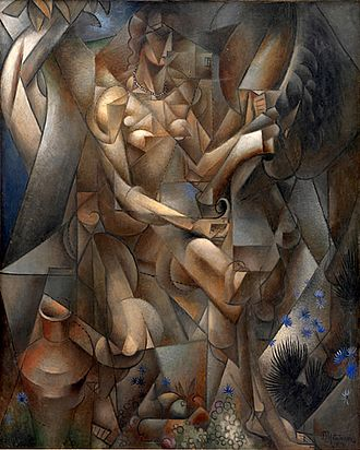 Section d'Or - Jean Metzinger, 1911-1912, La Femme au Cheval (Woman with a horse), oil on canvas, 162 x 130 cm, Statens Museum for Kunst, National Gallery of Denmark. Published in Apollinaire's 1913 Les Peintres Cubistes, Exhibited at the 1912 Salon des Indépendants. Provenance: Jacques Nayral, Niels Bohr