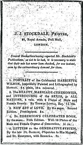 John Joseph Stockdale - Bill by J. J. Stockdale advertising a portrait of Wilson and works by Roberton