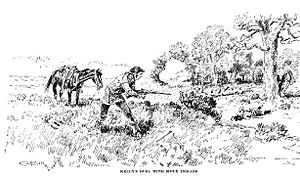 Luther Kelly - Kelly's duel with two Sioux warriors, as depicted by Charles Russell