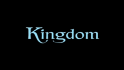 "The word ""Kingdom"" written in blue in a stylised font, against a black background."