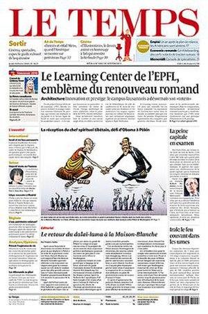 Le Temps - Image: Le Temps frontpage