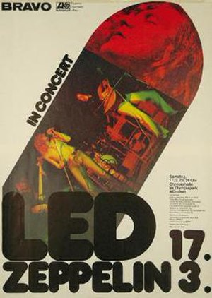 Led Zeppelin European Tour 1973 - Poster for Led Zeppelin's concert at Munich, used to help promote its 1973 European tour
