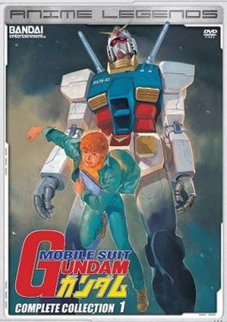 Mobile Suit Gundam - Cover of the first Anime Legends English DVD box compilation, featuring the protagonist Amuro Ray and the titular RX-78-2 Gundam.