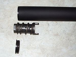 Muzzle booster - Image: Nielsen device of YHM Cobra .45 suppressor completely disassembled