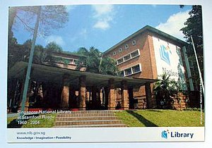Old National Library Building - A commemorative postcard of the old National Library building at 91 Stamford Road, Singapore, circa 2004.