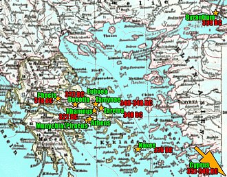 Phocion - Locations of the most important events of Phocion's life.
