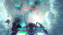 Gauges at the bottom of the user interface show the shield strength and weapons ammunition. Figures at the top right show the number of enemies destroyed and time remaining to complete the mission. Red markers highlight enemies, who leave pink trails in their wake. Friendly crafts leave blue contrails, and missiles white.