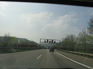 Bundesautobahn 61 - Autobahn 61 by the base of the Hunsrück Mountains near the town of Bingen