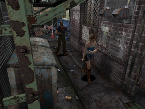 Resident Evil 3: Nemesis - The player, playing as Jill Valentine, is evading a zombie. Like its predecessors, the graphical style of the game features 3D models over pre-rendered backgrounds with fixed camera angles.